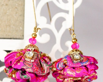 Earrings East Fuchsia rose