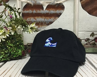 Vintage WAVE Dad Hat, Baseball Cap Low Profile Dad Hats Emoji Wave Dad Hats, Baseball Hat Embroidery Black