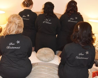 Personalised Bridal Party Robes. Bride, bridesmaids, mother of the bride/groom etc