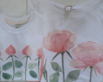 Roses and Rosebuds for Mother and Daughter handpainted digitally printed on organic cotton