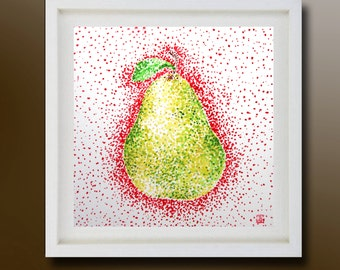 Still Life, Pear Original Painting, Acrylic on paper, Boba painting