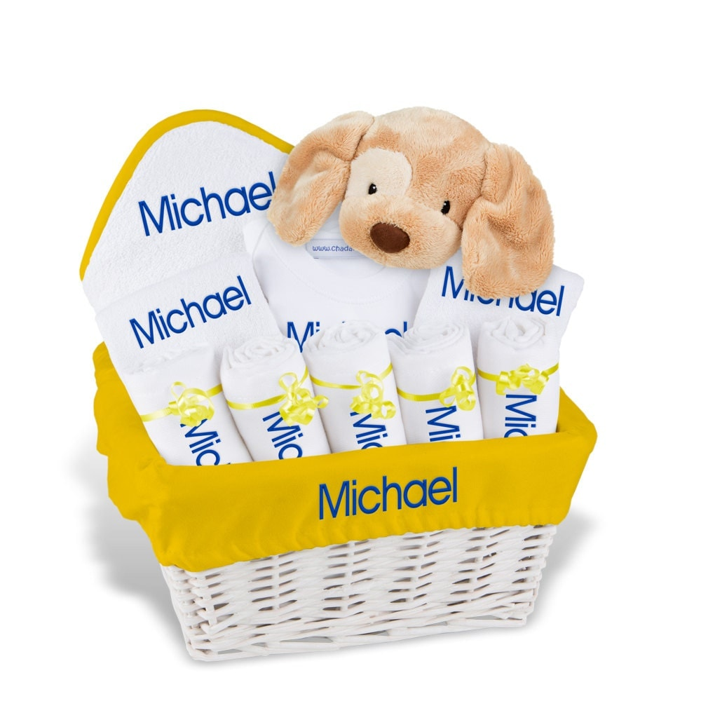 Cool Baby Boy Gifts Uk : Personalized baby gift basket boy bibs