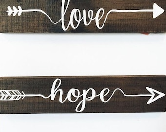 Inspirational Wood Arrow Signs, Rustic Wood Sign, Word Signs, Gifts Under 50, Arrows, Faith, Hope, Dream, Brave, Love, Holiday Gift
