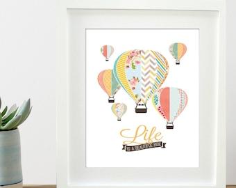 hot air balloon printable 8x10 and 11x14 children's art print, hot air balloon nursery art, INSTANT DOWNLOAD printable file