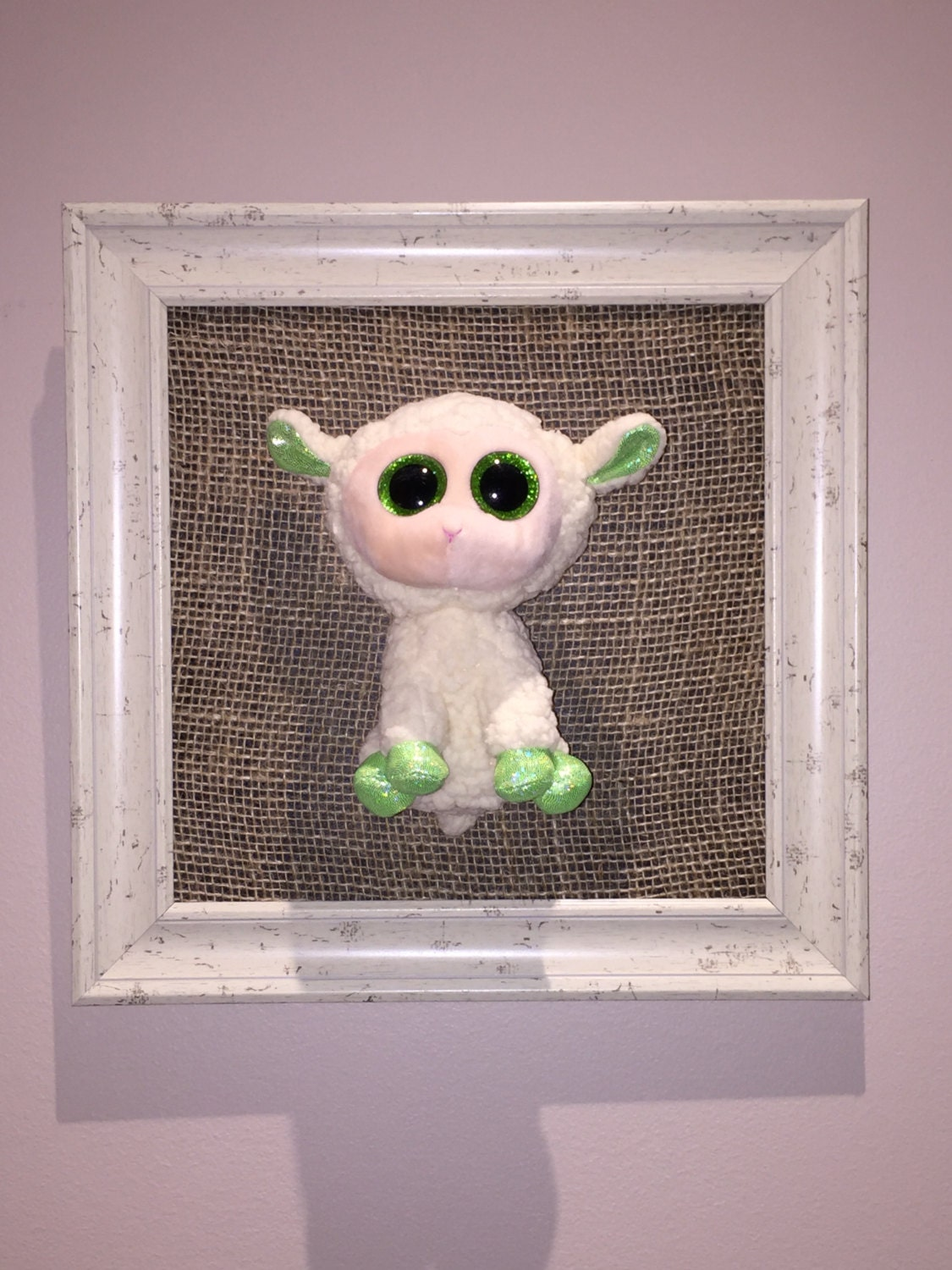 Nursery prints lamb : 3d framed lamb stuffed animal-nursery kids room by marlinndesigns