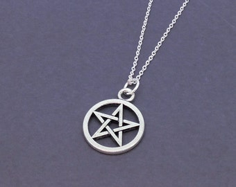 Pentagram Necklace, Star Pentacle Pendant, Supernatural Necklace, Goth Pendant, Wiccan Necklace, Gothic Wicca Jewelry, Antique Silver Charm