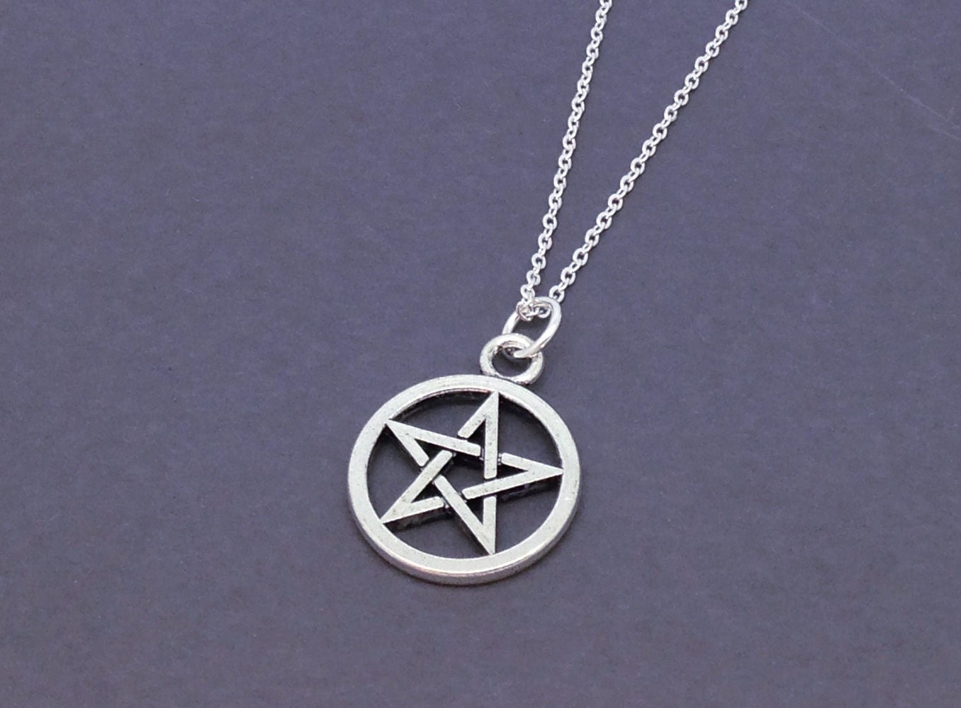 antique silver pentagram necklace pentacle by
