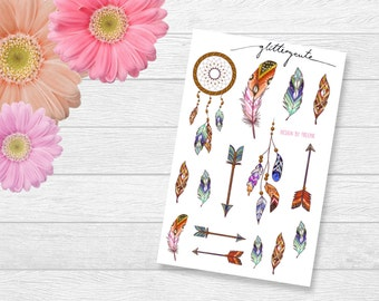 Boho feather dreamcatcher and arrow planner sticker sheet