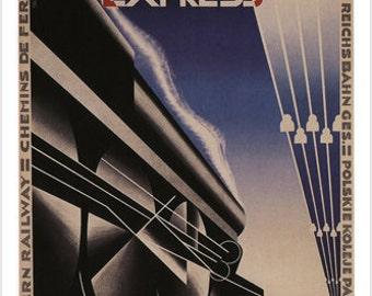 North Express Railway Train Poster A.M. Cassandre France 1927 24x36 Hot Rare