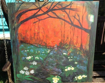 The Lost Bower (Friends) Large Original Acrylic Painting