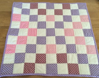 Patchwork table topper. Centre piece for table.  Pink and purple polkadot. 100% cotton quilt top and backing. Machine pieced and quilted.