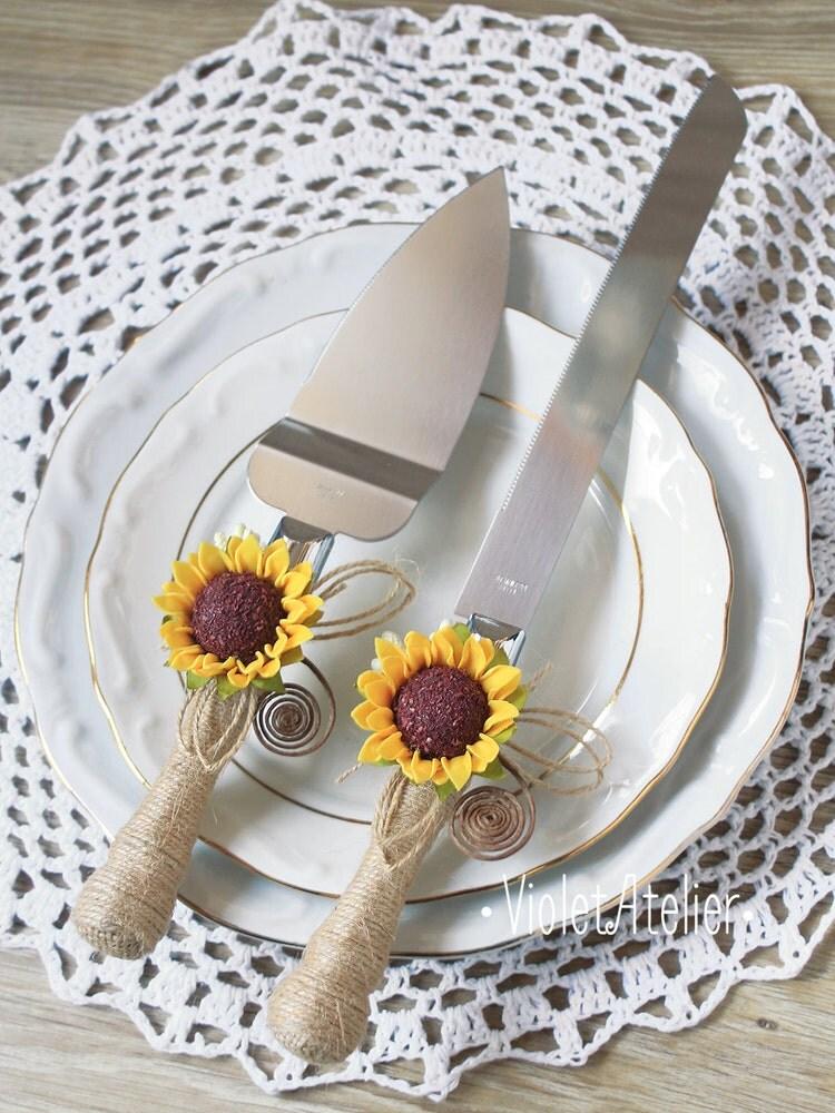 sunflower wedding cake cutting set sunflower by violetatelier. Black Bedroom Furniture Sets. Home Design Ideas