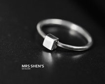 Mrs.Shen 925 Sterling Silver Simple cube Ring,minimalist,gift,unique,simple,classic ring,crystal,fashion ring,woman,simple, cube, square