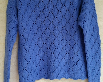 ROWAN pull spring lace knit cotton Handknit Cotton blue size S/36 en new hand