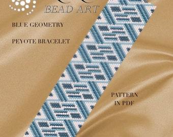 Pattern, peyote bracelet - Blue geometry peyote bracelet cuff pattern in PDF - instant download