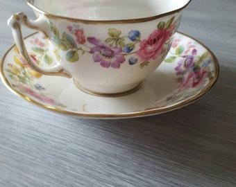 "Vintage Old Royal China ""Swansea"" Pattern Tea Cup & Saucer"
