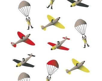 Boys Bedroom Art Print, Planes and Parachutes