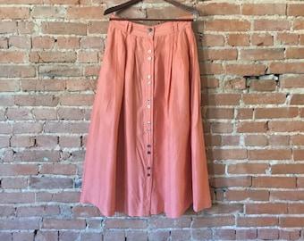 Vintage Button-down Silk Skirt