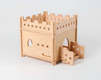 "Wooden dollhouse ""Castle"" 1 storey, modular plywood castle, wooden toys, doll house, Waldorf inspired, Montessori inspired, building blocks"