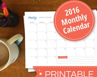 2016 Monthly Calendar Printable PDF
