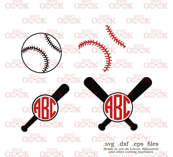 baseball stitches bat monogram frame svg cut files for cricut