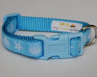 Blue Seashell Dog Collar, Beach Dog Collar, Adjustable Dog Collar, Boy Dog Collar
