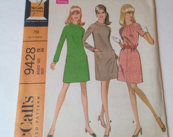 McCall's 9428 Vintage 1960s Cut Sewing Pattern Shift Dress Size 12