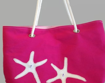 Double Starfish Beach Bag, Beach Tote, Nautical Bag