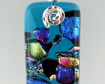 Fused Dichroic Glass Pendant / Turquoise and dichroic fused glass pendant with silver wire work