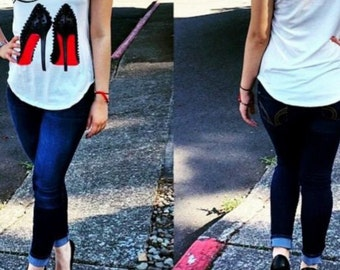 Louboutin spiked heels fashion t-shirt