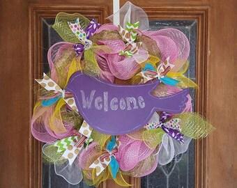 Spring Summer Mesh Chalkboard Wreath