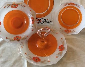 Art Deco Indiana glass handle sandwich tray inverted orange paint poppy flowers pattern