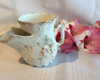 Antique Victorian shaving mug soap dish plate and pouring cup