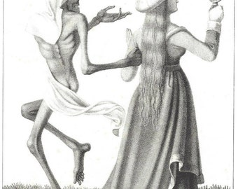 1841 Original Dance Of Death by Hieronymus Hess, The Lady, 1st edition. After medieval mural in Basle Switzeland