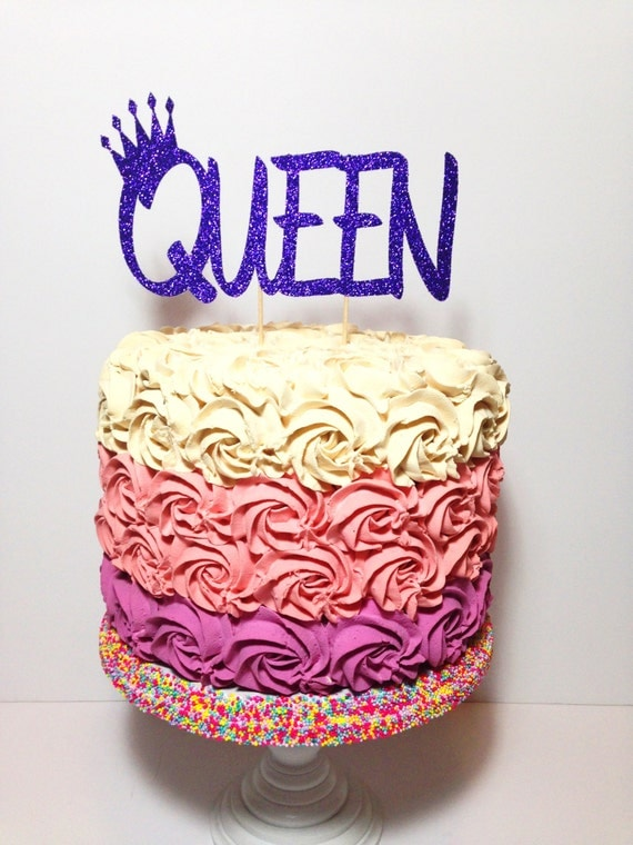 Queen Cake Topper (Birthday, Glitter Decorations, Mothers Day)