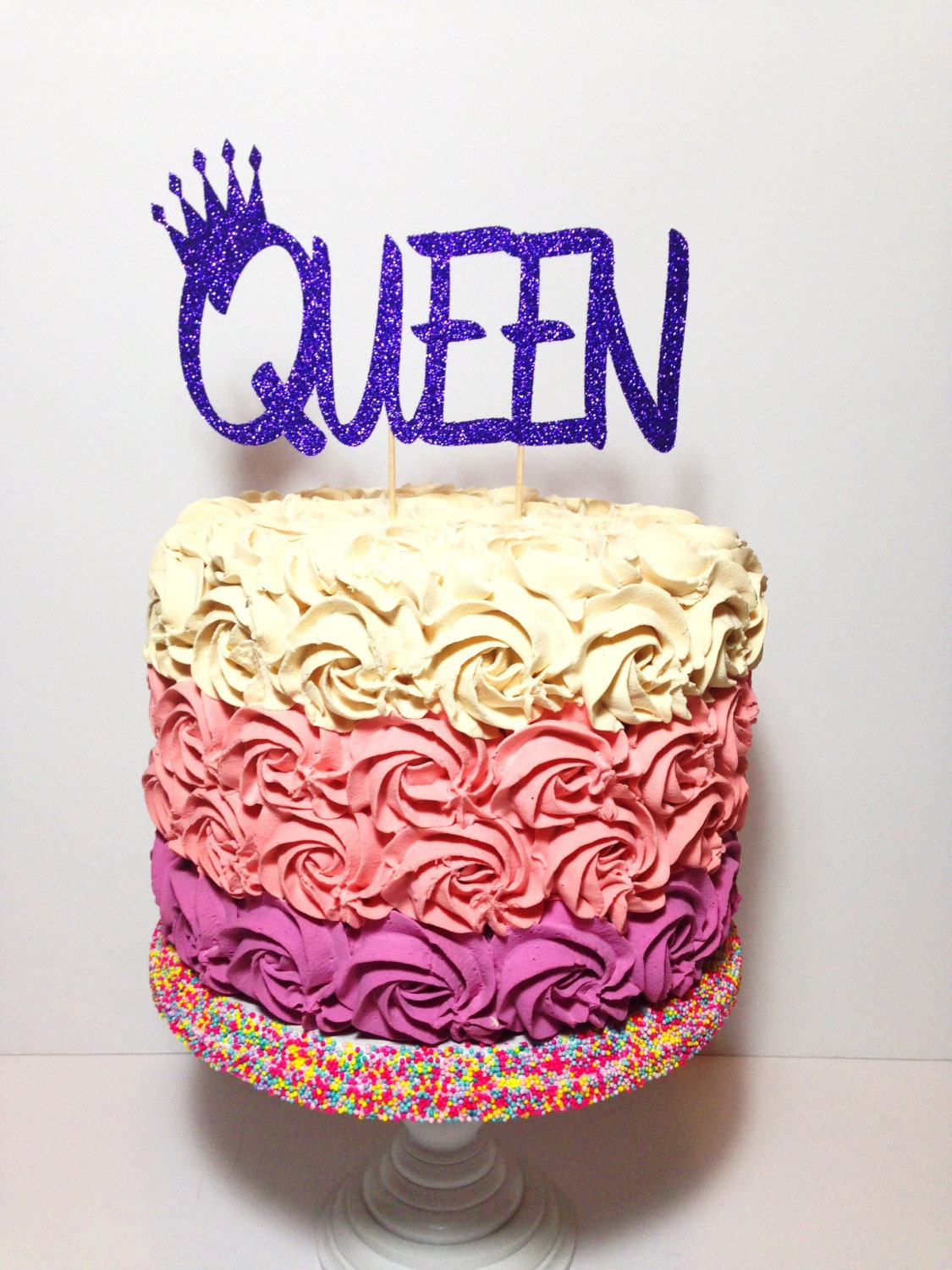 Queen Cake Topper Birthday Glitter Decorations Mother s