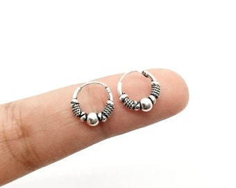 Small hoop earrings, Silver hoop earrings, 10mm hoop earrings, Tribal hoop earrings, Cartilage hoop earrings, Cartilage earrings, tiny hoops