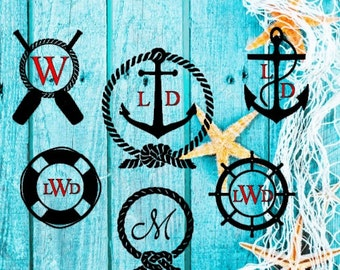 Nautical Themed digital file with bonus letters in SVG, PNG and silhouette studio or cricut explore-personal or commerical use