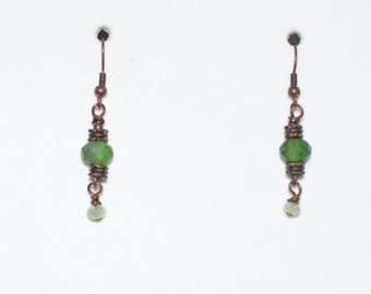 Simply Beautiful...Handcrafted Copper and Green Glass Bead Earrings