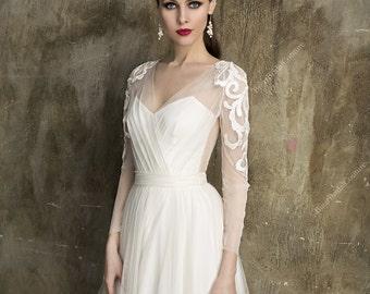 Dolce Wedding Dress, Unique Beach Wedding Gown, Long Sleeve wedding dress, bridal gown, Handmade, Bohemian Wedding dress