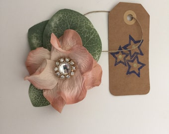 Dusty rose and jeweled hair pin.  0013