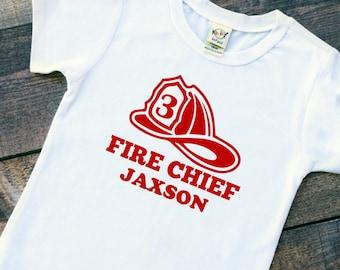 Birthday baby boy toddler fireman fire chief personalized bodysuit tshirt
