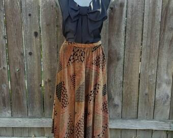 Womens Vintage Skirt, Century Boston, Paisley Brown Circle Skirt, Velvet Multi Color, 1970s Size Medium to Large