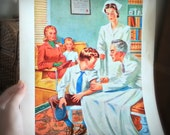 """Vintage 40s Poster """"Workers Who Help Us Keep Well"""""""