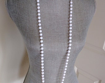 "Vintage Flapper Necklace, White Acrylic Beads, 47"" Long, Can Be Worn Multiple Ways, Ca. 1960s"