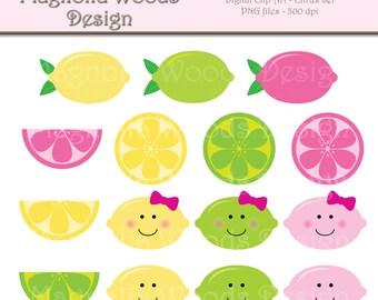Lemon Clip Art, Summer Clip Art, Pink Lemonade Clip Art, Citrus Clip Art, Lemonade Clip Art, Digital Images, Small Commercial Use Clip Art