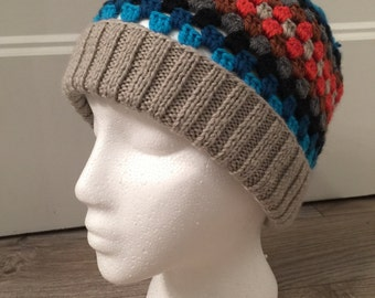 Bonnet woman multicolor knit/crochet - retro Look
