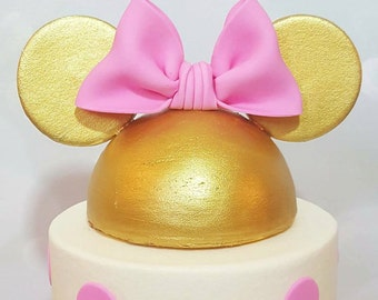 Minnie Mouse Ear Hat With Bow Cake Topper (Gold)