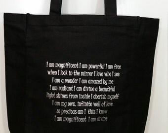 Black canvas tote bag, book bag, library bag, book club, motivational, powerful, inspirational, affirmation, original, unique, poem