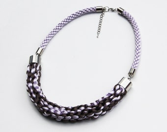 Violet and dark grey knotted rope statement necklace